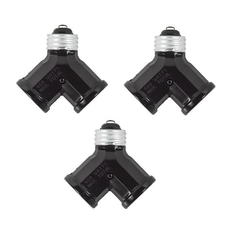 Leviton 128 15 Amp, 660 Watt, 250 Volt, Twin Light Socket Adapter (Pack of 3)