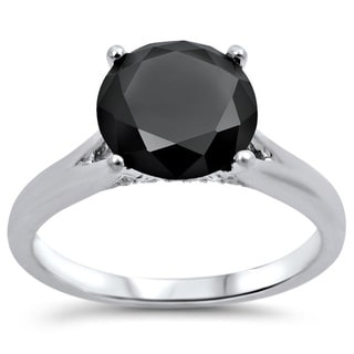Noori 18k White Gold 2ct TDW Black Round Diamond Solitaire Engagement Ring