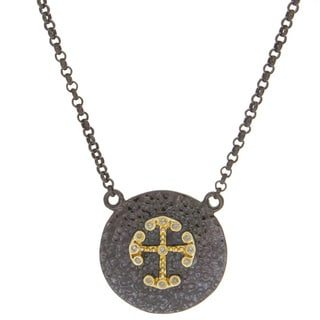 Victoria Kay Rhodium-plated Sterling Silver Diamond Accent Cross Disc Necklace