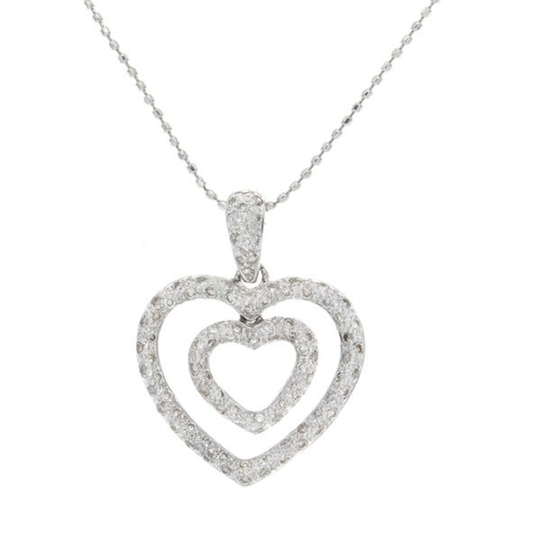 c6bbb6c5f7a Shop Victoria Kay 14k White Gold 1/2ct TDW Diamond Double Pave Heart Pendant  - Free Shipping Today - Overstock - 9608768
