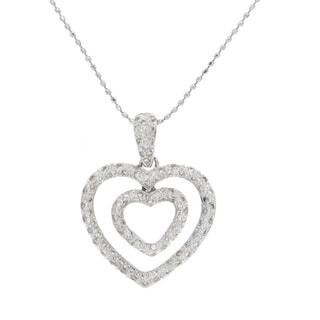 Victoria Kay 14k White Gold 1/2ct TDW Diamond Double Pave Heart Pendant (I-J, I1-I2)