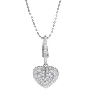 Victoria Kay 14k White Gold 1/5ct TDW Pave-set White Diamond Heart Pendant Necklace (I-J, I1-I2)