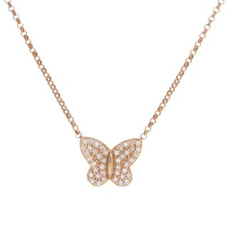 Victoria Kay 14k Rose Gold 1/6ct TDW Diamond Pave Butterfly Necklace (J-K, I2-I3)