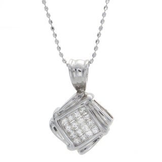 Victoria Kay 14k White Gold 1/4ct TDW Diamond Invisible Set Square Pendant