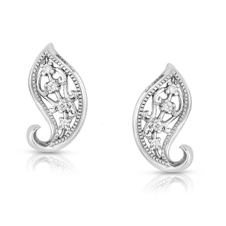 Eloquence Sterling Silver White Diamond Accent Motif Earrings