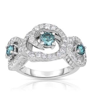 Eloquence 14k White Gold 1 3/4ct TDW Blue 3-Stone Halo Diamond Engagement Ring (Blue, I1-I2)