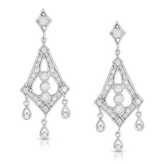 Eloquence 14k White Gold 1ct TDW White Diamond Dangle Earrings (H-I, I1-I2)