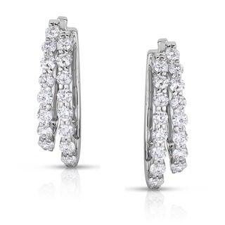 Eloquence 14k White Gold 2ct TDW White Diamond Hoop Earrings (H-I, I1-I2)
