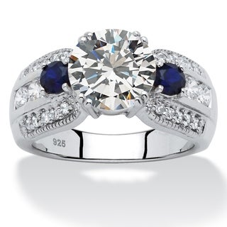 3.91 TCW Round Cubic Zirconia and Sapphire Ring in Platinum over Sterling Silver Glam CZ