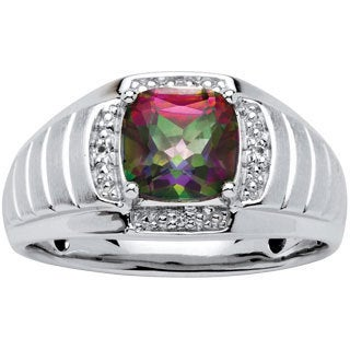 PalmBeach Men's 2.72 TCW Cushion-Cut Fire Topaz and White Sapphire Ring in Platinum over .925 Sterling Silver