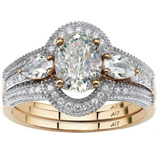 PalmBeach 19.33 TCW Oval-Cut Cubic Zirconia 3-Piece Halo Bridal Set in 10k Gold Classic CZ
