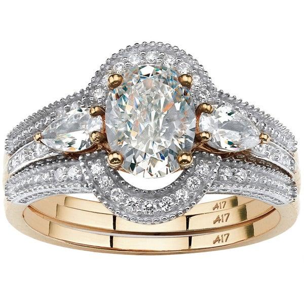 10k Gold Classic 1.75CTtw Oval-cut Cubic Zirconia 3-piece Halo Bridal Set