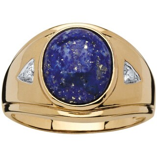 Men's 3.30 TCW Oval-Cut Lapis Diamond Accented Ring in 18k Gold over Sterling Silver - Blue