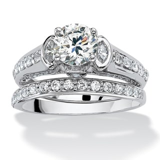 PalmBeach 2 Piece 2.67 TCW Round Cubic Zirconia Bridal Ring Set in Platinum over Sterling Silver Glam CZ