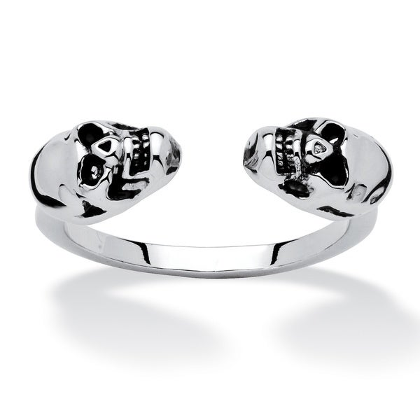 PalmBeach Skull Open Ring in Platinum-Plated Tailored