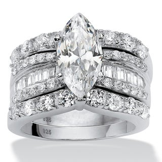 PalmBeach 3 Piece 4.55 TCW Marquise-Cut Cubic Zirconia Bridal Ring Set in Platinum over Sterling Silver Glam CZ