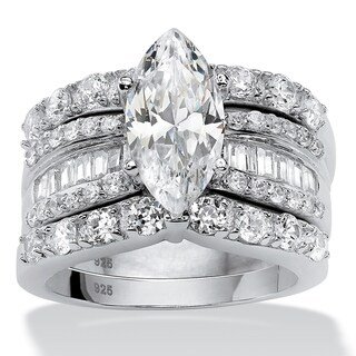 Link to Platinum over Sterling Silver Cubic Zirconia Bridal Ring Set Similar Items in Rings