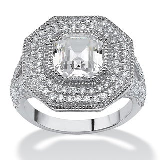 3.15 TCW Ascher-Cut Cubic Zirconia Vintage-Inspired Halo Ring in Platinum over Sterling Si