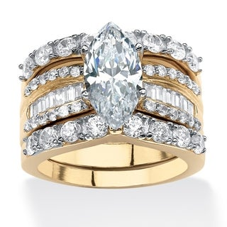 PalmBeach 3 Piece 4.55 TCW Marquise-Cut Cubic Zirconia Bridal Ring Set in 18k Gold over Sterling Silver Classic CZ