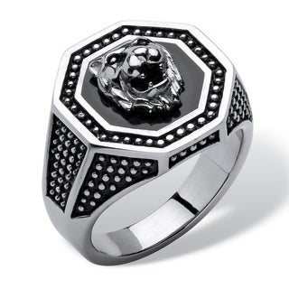 PalmBeach Men's Hexagon Lion Ring in Stainless Steel