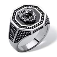 Men's Hexagon Lion Ring in Stainless Steel