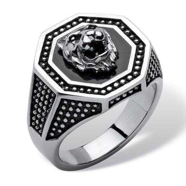 Shop Men S Hexagon Lion Ring In Stainless Steel On Sale