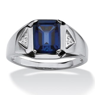 Men's 2.75 TCW Emerald-Cut Sapphire and Diamond Accented Ring in Platinum over Sterling Si