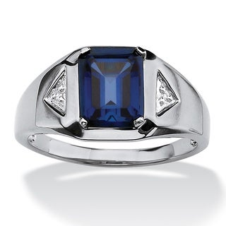 Men's 2.75 TCW Emerald-Cut Sapphire and Diamond Accented Ring in Platinum over Sterling Si - Blue