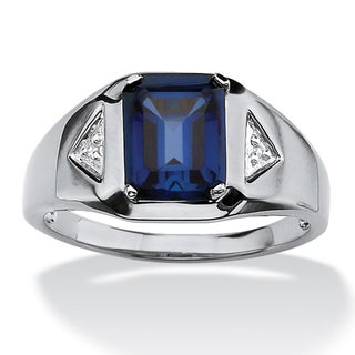 Men's 2.75 TCW Emerald-Cut Sapphire and Diamond Accented Ring in Platinum over Sterling Si - Blue (More options available)
