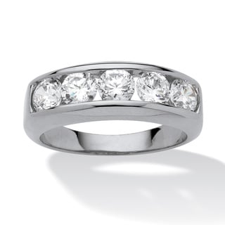 PalmBeach Men's 2.50 TCW Round Cubic Zirconia Ring in Platinum over Sterling Silver