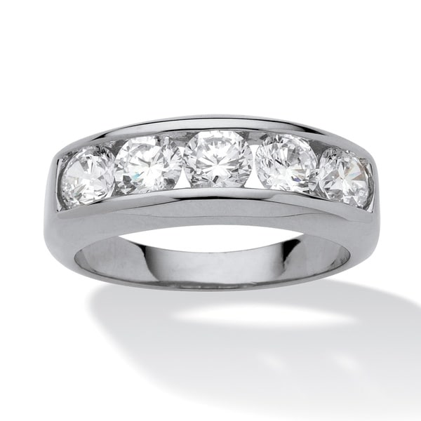 Men's 2.50 TCW Round Cubic Zirconia Ring in Platinum over Sterling Silver. Opens flyout.