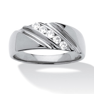 Men's .50 TCW Round Cubic Zirconia Diagonal Ring In Platinum over Sterling Silver