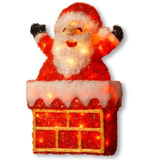 24-inch Tinsel Light Santa on Chimney