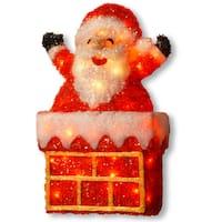 24-inch Tinsel Light Santa on Chimney