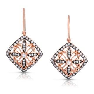 Eloquence 14k Rose Gold 1/2ct TDW White Diamond Dangling Earrings (H-I, I1-I2)