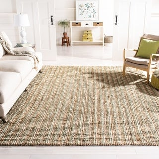 Safavieh Casual Natural Fiber Hand-Woven Sage / Natural Chunky Thick Jute Rug (8' Square)
