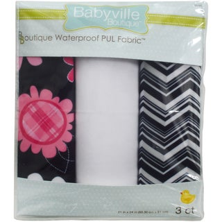 "Babyville PUL Waterproof Diaper Fabric 21""X24"" Cuts 3/Pkg-Black Chevron & Pink Floral"