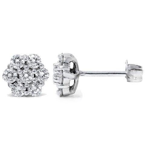 14k White Gold 1ct TDW Flower Cluster Diamond Stud Earrings