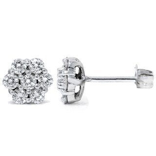 14k White Gold 1ct TDW Flower Cluster Diamond Stud Earrings
