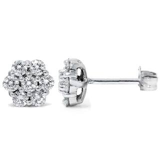 14k White Gold 1ct TDW Flower Cluster Diamond Stud Earrings|https://ak1.ostkcdn.com/images/products/9609146/P16794617.jpg?impolicy=medium