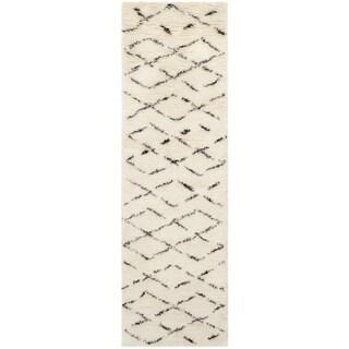Safavieh Hand-Tufted Casablanca White/ Brown New Zealand Wool Rug (2'3 x 8')