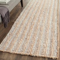 "Safavieh Handmade Natural Fiber Barbados Chunky Thick Grey / Natural Jute Rug - 2'6"" x 8' Runner"