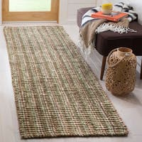 "Safavieh Casual Natural Fiber Hand-Woven Sage / Natural Chunky Thick Jute Rug - 2'6"" x 8'"