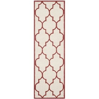 Safavieh Handmade Moroccan Cambridge Ivory/ Rust Wool Rug (2'6 x 10')