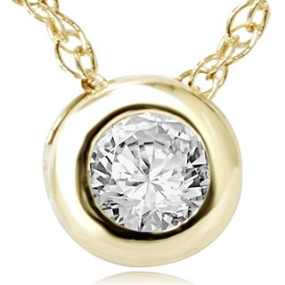 14k Yellow Gold 1/4ct Diamond Bezel-set Pendant Necklace (I-J, I2-I3)