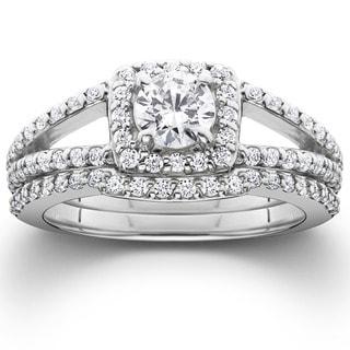 14k White Gold 1 1/5ct TDW Split Shank Halo Diamond Engagement Wedding Ring Set