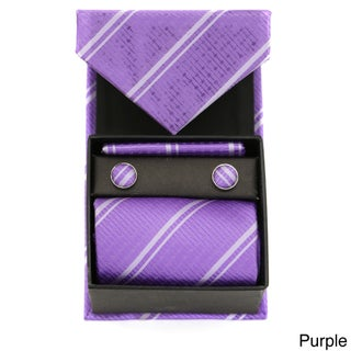 Ferrecci Striped Neck Tie, Cufflinks, and Hanky Boxed Set (2 options available)