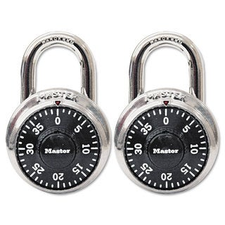 Master Lock Combination Lock/ Stainless Steel/ 1.88-inch Wide/ Black Dial (Pack of 2)