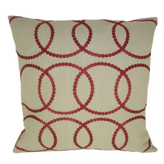 Bindi Red Feather Filled Embroidered Circles 20-inch Throw Pillow