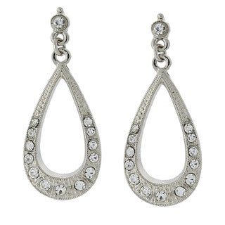 1928 Jewelry Silvertone Crystal Teardrop Earrings